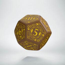 D12 Steampunk Brown & yellow Die (1)