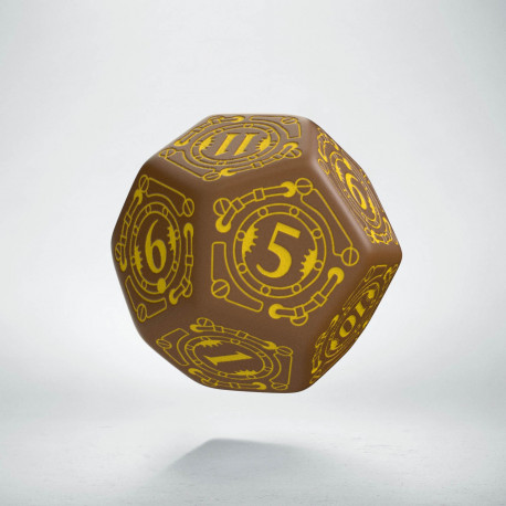 D12 Steampunk Brown & yellow Die