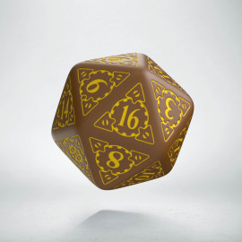 D20 Steampunk Brown & yellow Die