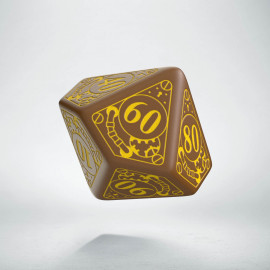D100 Steampunk Brown & yellow Die