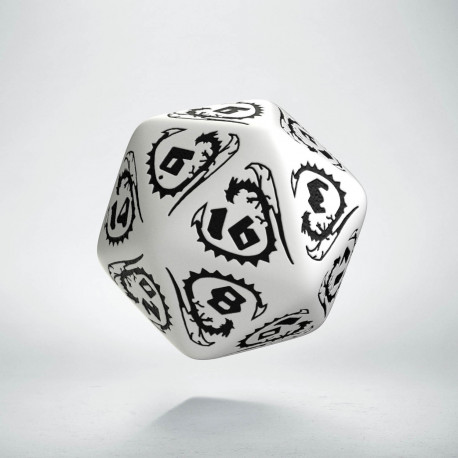 D20 Dragons White & black Die
