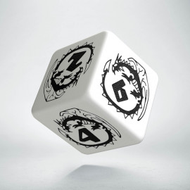 D6 Dragons White & black Die (1)