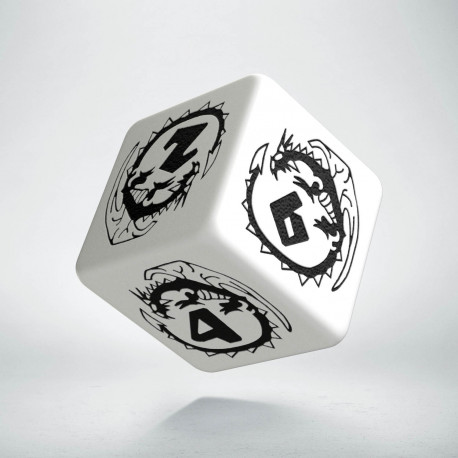 D6 Dragons White & black Die