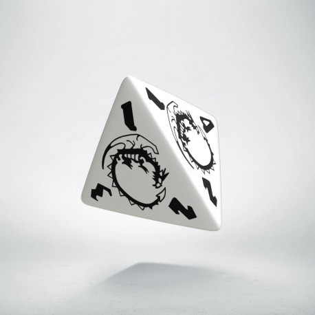 D4 Dragons White & black Die
