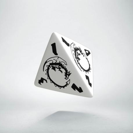 D4 Dragons White & black Die