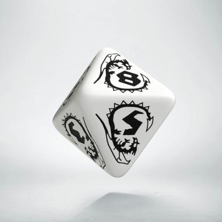 D8 Dragons White & black Die