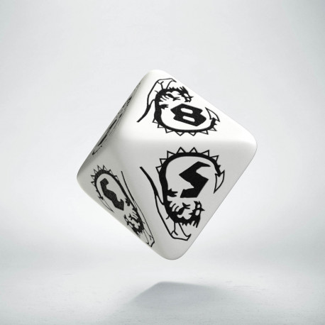 D8 Dragons White & black Die