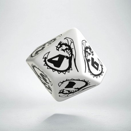 D10 Dragons White & black Die
