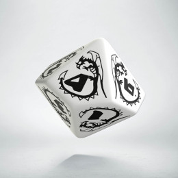D10 Dragons White & black Die (1)