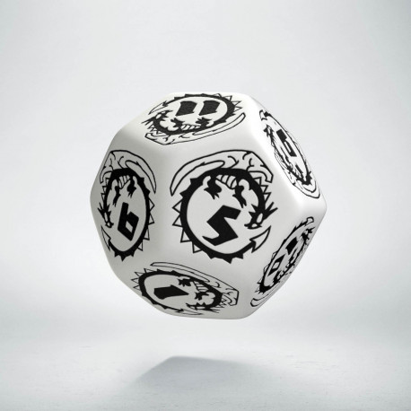 D12 Dragons White & black Die