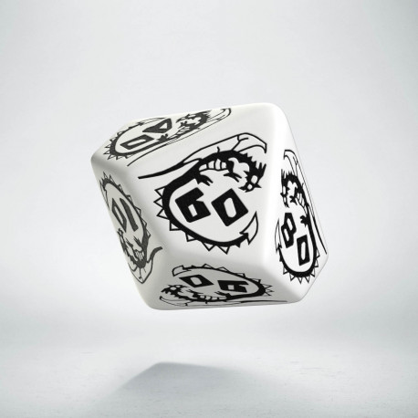 D100 Dragons White & black Die