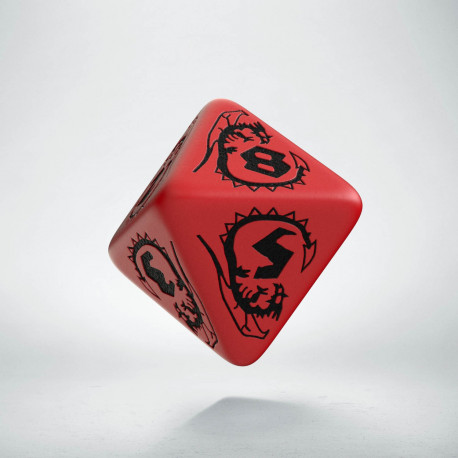 D8 Dragons Red & black Die