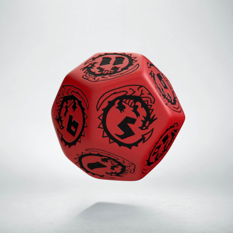 D12 Dragons Red & black Die