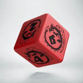 D6 Dragons Red & black Die (1)