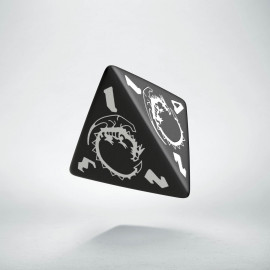 D4 Dragons Black & white Die