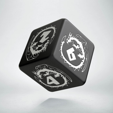 D6 Dragons Black & white Die
