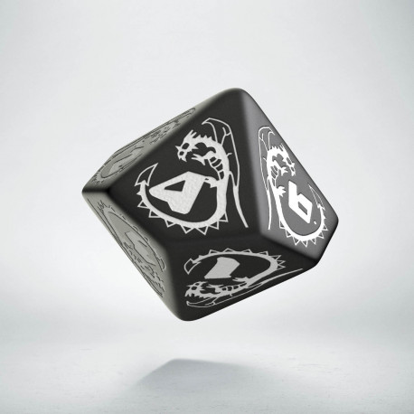D10 Dragons Black & white Die