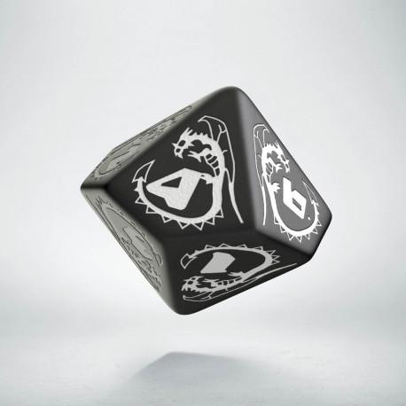 D10 Dragons Black & white Die