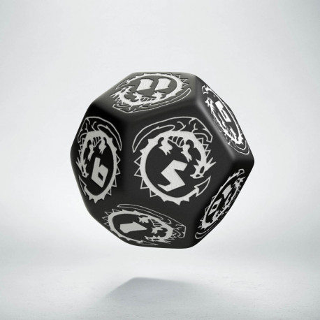 D12 Dragons Black & white Die