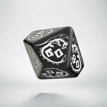D100 Dragons Black & white Die