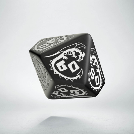 D100 Dragons Black & white Die