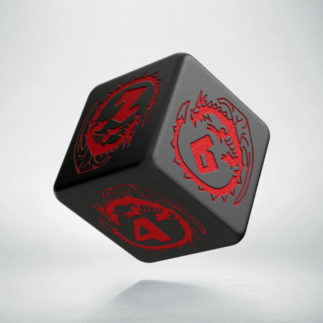 D6 Dragons Black & red Die