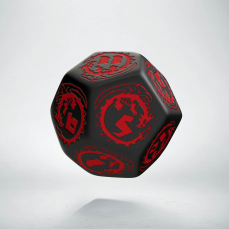 D12 Dragons Black & red Die