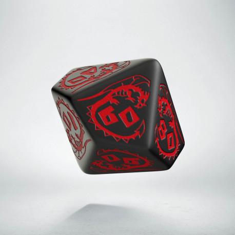 D100 Dragons Black & red Die