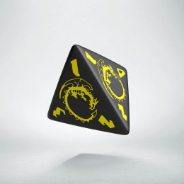 D4 Dragons Black & yellow Die (1)