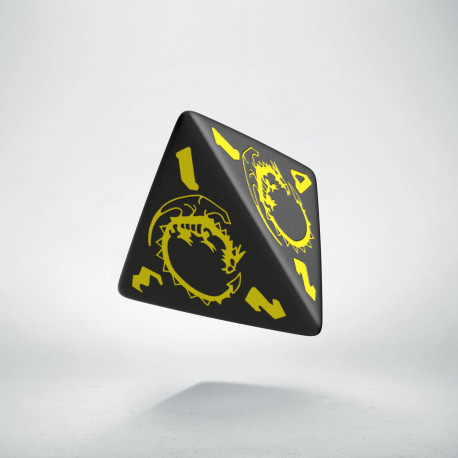 D4 Dragons Black & yellow Die