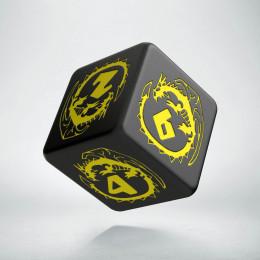 D6 Dragons Black & yellow Die (1)