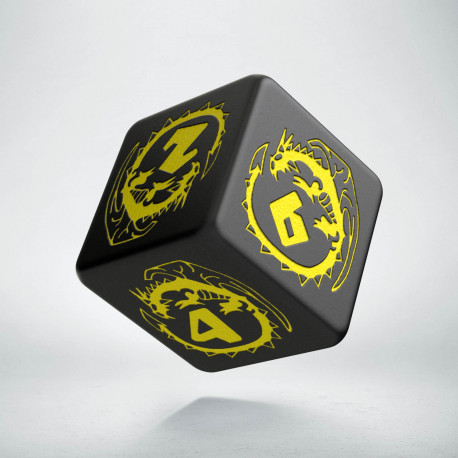 D6 Dragons Black & yellow Die