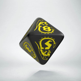 D8 Dragons Black & yellow Die