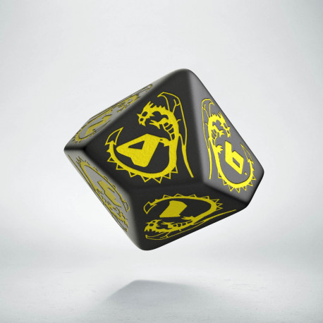 D10 Dragons Black & yellow Die