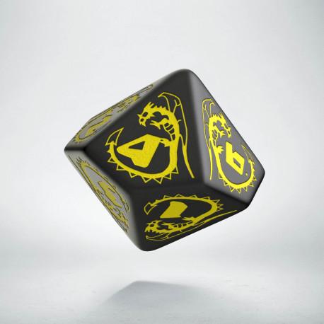 D10 Dragons Black & yellow Die