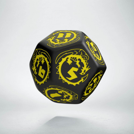 D12 Dragons Black & yellow Die
