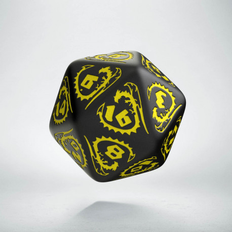D20 Dragons Black & yellow Die