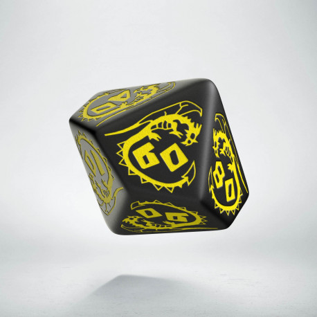 D100 Dragons Black & yellow Die