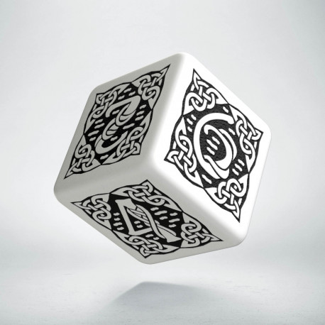 D6 Celtic 3D White & black Die
