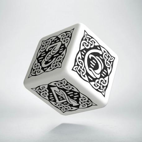 D6 Celtic 3D White & black Die