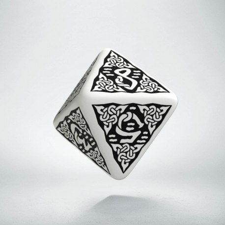 D8 Celtic 3D White & black Die