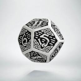 D12 Celtic 3D White & black Die (1)