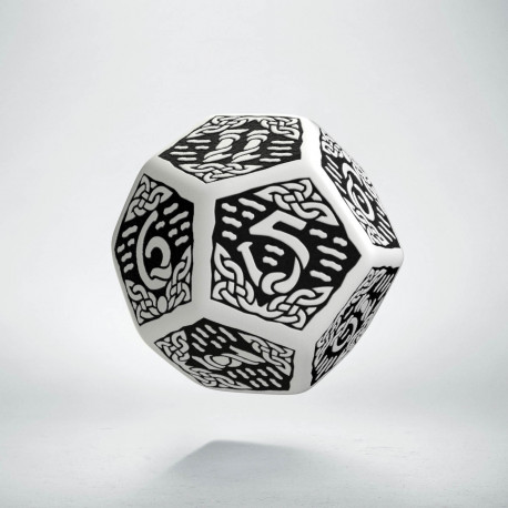D12 Celtic 3D White & black Die