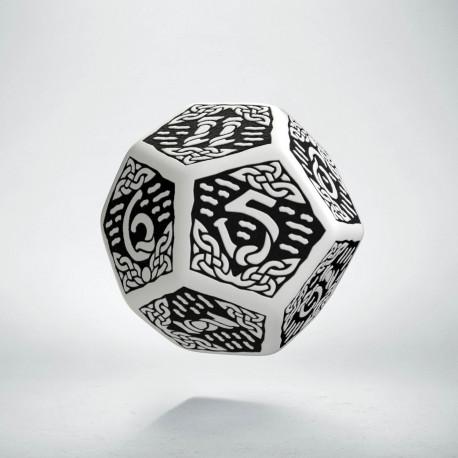 D12 Celtic 3D White & black Die