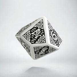 D10 Celtic 3D White & black Die (1)