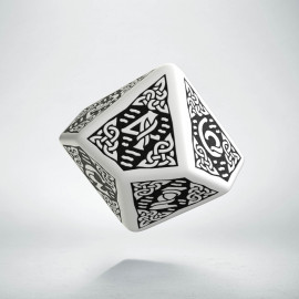 D10 Celtic 3D White & black Die