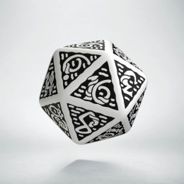 D20 Celtic 3D White & black Die (1)