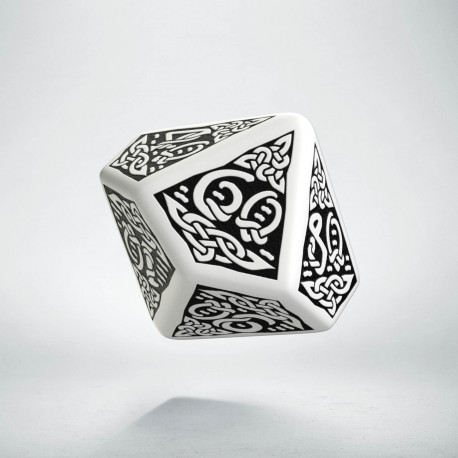 D100 Celtic 3D White & black Die