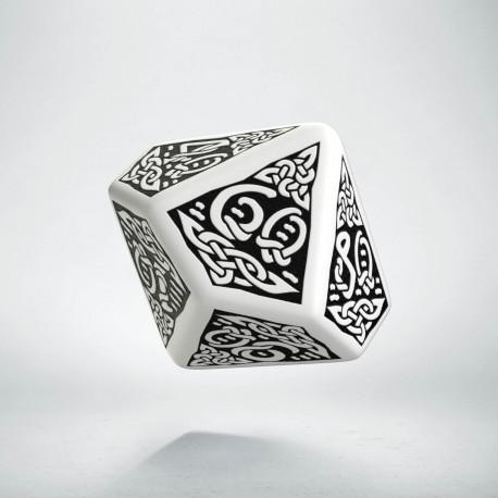 D100 Celtic 3D White & black Die