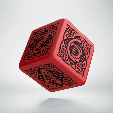 D6 Celtic 3D Red & black Die